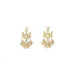 Sunshine Leaves n Pearls Earrings