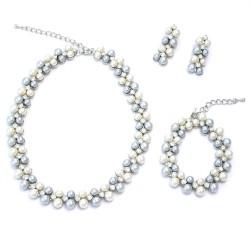 Perla in White n Light Gray Set